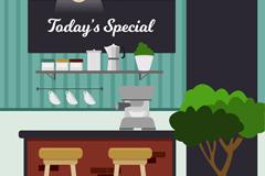 创意咖啡美食店内部吧台设计矢量素材