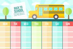扁平化彩色校园课程表设计矢量素材