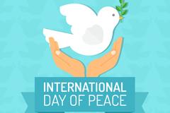 创意国际和平日手捧白鸽贺卡矢量图