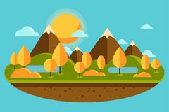 扁平化秋季自然风景矢量图