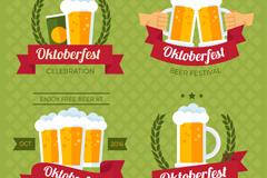 4款扁平化啤酒节标签矢量素材