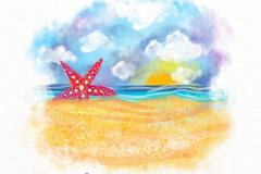 彩绘夏季沙滩上的海星风景矢量图