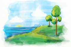 水彩绘夏季海边树木风景矢量图