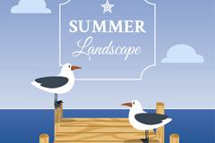 夏季海边栈桥上的两只海鸥矢量亚虎娱乐