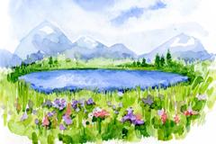 水彩绘布卢芒廷湖风景矢量素材