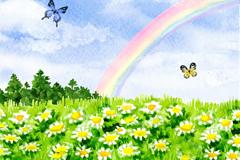 开满鲜花的夏季原野和彩虹风景矢量素材