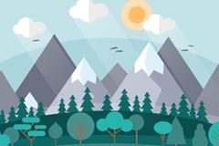 扁平化雪山与森林风景矢量图