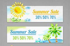 3款水彩绘夏季促销banner矢量图