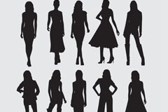 10款时尚女郎剪影矢量素材