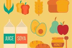 10款扁平化素食食品矢量图