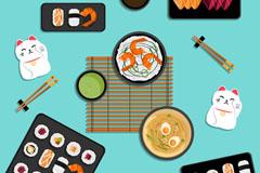6盘美味日本料理矢量素材