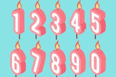 10款粉色生日立体数字蜡烛矢量素