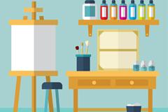 扁平化整洁画室设计矢量图