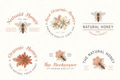 6款手绘有机蜂蜜标志矢量图