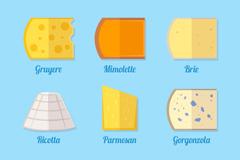 6种扁平化奶酪设计矢量素材