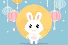 可爱小白兔和灯笼中秋节贺卡矢量