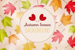 五彩秋季树叶和光晕背景矢量齐乐娱乐