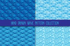 4款蓝色海浪花纹无缝背景矢量图