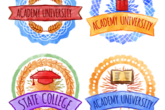 4款彩绘大学校园徽章矢量素材