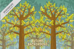 创意秋季树林风景矢量素材