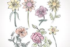 7款彩绘花朵设计矢量素材