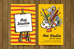 2款彩绘艺术工作室名片矢量图