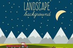 创意夜晚山边农场风景矢量素材