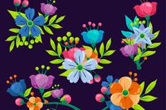 5款彩色花瓣花朵矢量素材