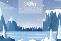 被雪覆盖的河流与山风景矢量图
