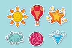 9款彩色夏季元素贴纸矢量图