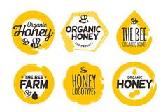8款黄色有机蜂蜜标志矢量素材