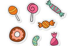 7款彩色甜食补丁徽章矢量图