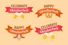 4款创意啤酒节条幅标签矢量图