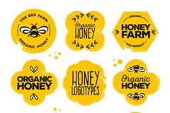 8款创意有机蜂蜜标志矢量图