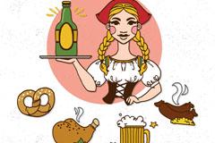彩绘慕尼黑啤酒节女孩和食物矢量