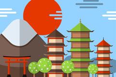 扁平化日本古建筑风景矢量素材