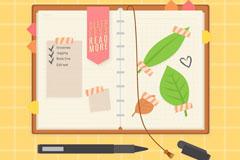 打开的日记本和书签矢量素材