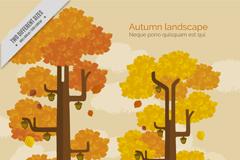 秋季橡子树和雪山风景矢量图