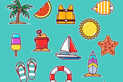 16款彩色夏季沙滩度假元素矢量图