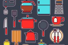 16款彩色厨房用品设计矢量图