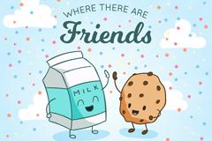 可爱牛奶和曲奇友谊日贺卡矢量图