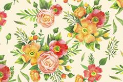 彩色花束无缝背景矢量素材