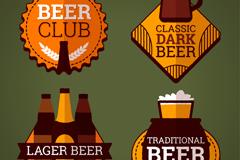 4款扁平化啤酒俱乐部标签矢量图