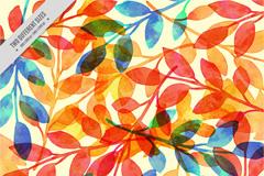 彩色树叶枝条无缝背景矢量图