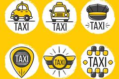 6款创意出租车元素标签矢量齐乐娱乐