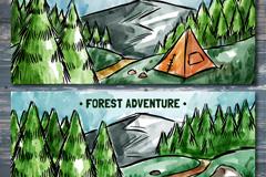 2款彩绘森林探险风景banner矢量图