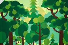 扁平化绿色森林风景矢量图