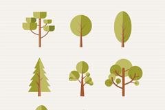 9款扁平化森林树木矢量图