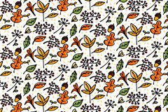 彩绘秋季元素无缝背景矢量素材