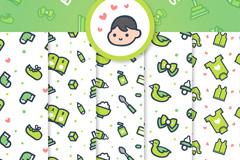 3款可爱婴儿用品无缝背景矢量图